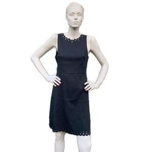 Loft Scalloped Black Sheath Dress